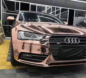 Image 4 - 50CM*1M/2M/3M/4M/5M Roll Car styling High stretchable Mirror rose gold Chrome Mirror Vinyl Wrap Sheet Roll Film Car Sticker