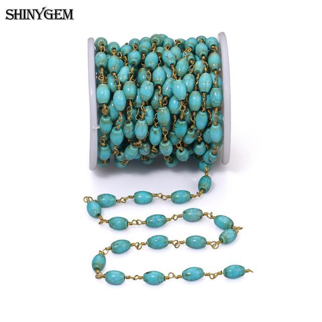 ShinyGem naturalny turkus korale 24 K pozłacane różaniec łańcuchy hurtownie kamień naturalny korale do tworzenia biżuterii 5 m/partia