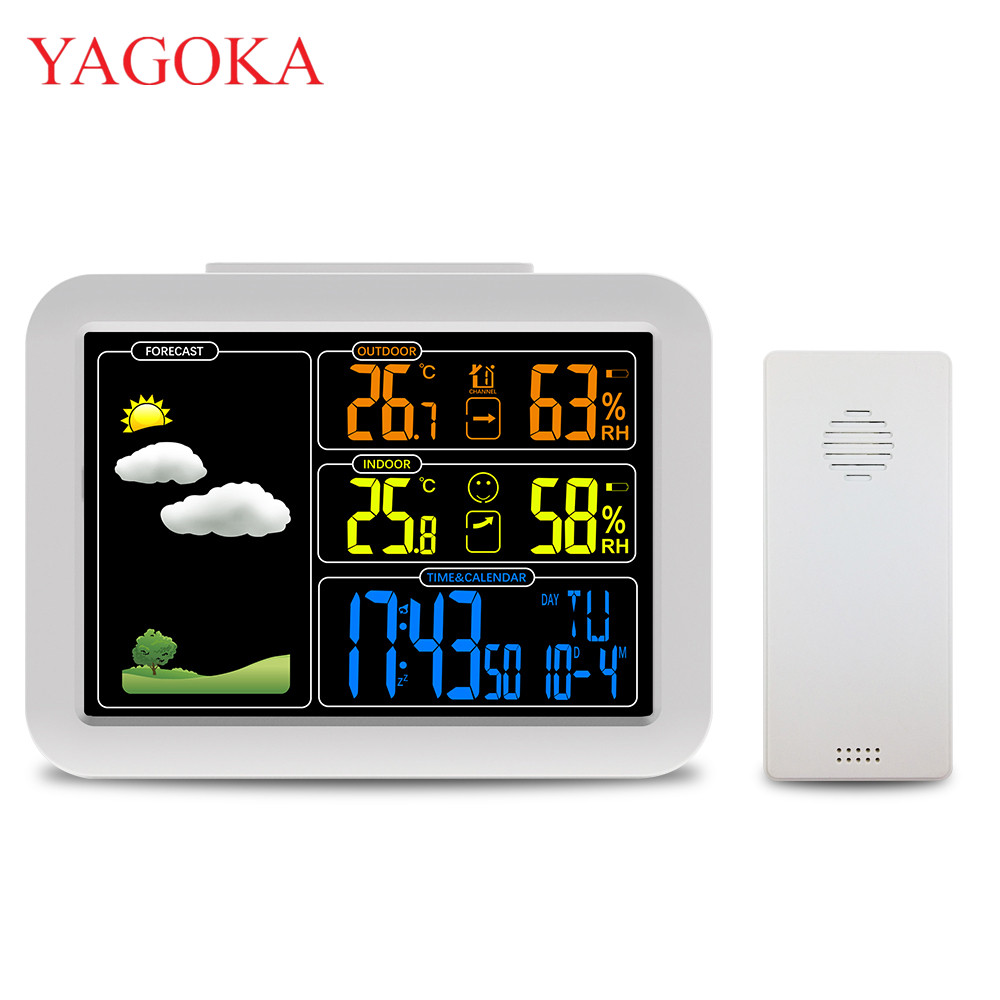 Indoor and Outdoor Colorful LCD Display Weather Station With Weather Forecast Radio control Time e33 rechargeable digital hearing aid 2 channels