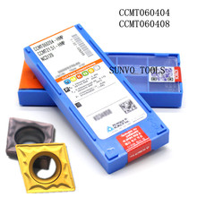 50 PCS CCMT060204 CCMT060208 PC9030 NC3030 Korloy CNC מפנה קרביד מוסיף מתאים עיבוד של פלדה S06K SCLCR06 SCLCL06