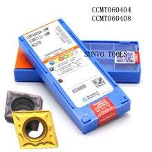 Insertos de carburo de torneado CNC, 50 Uds. CCMT060204 CCMT060208 PC9030 NC3030 Korloy, procesamiento adecuado de acero S06K  SCLCR06 scl06
