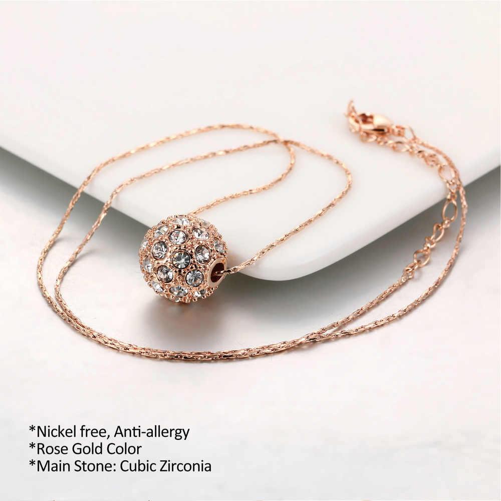Double Fair ลูกปัด Charm สร้อยคอและจี้สำหรับผู้หญิง Silver/Rose Gold สีแฟชั่นผู้หญิงเครื่องประดับคริสตัลงูโซ่ DFN252