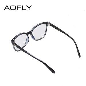 Image 4 - AOFLY modne okulary kobiet konstrukcja nitów ponadgabarytowych okrągłe oprawki optyczne klasyczne okulary w stylu Vintage do czytania przezroczyste soczewki AF9205
