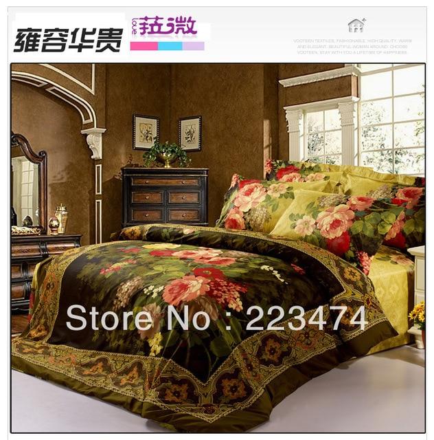 Free shipping!3D flower Luxury 100% cotton  bedding set 4PCS for wedding/duvet cover set /comforter set /bed sheet