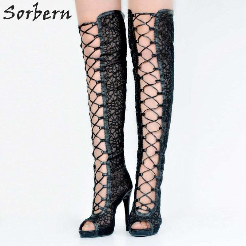 Femme Mince Talons Toe Plus Femmes Mujer Mode De Chaussure La Dames Taille Bottes Up Partie Noir Peep Haute Dentelle Botas qO7Wz