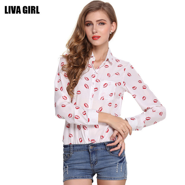 53c382b9e97 2017 Spring Women s Chiffon Blouse Fashion Cute Red Lips Printing Long  Sleeve Sexy Bottoming Shirt Tops For Ladies White Black
