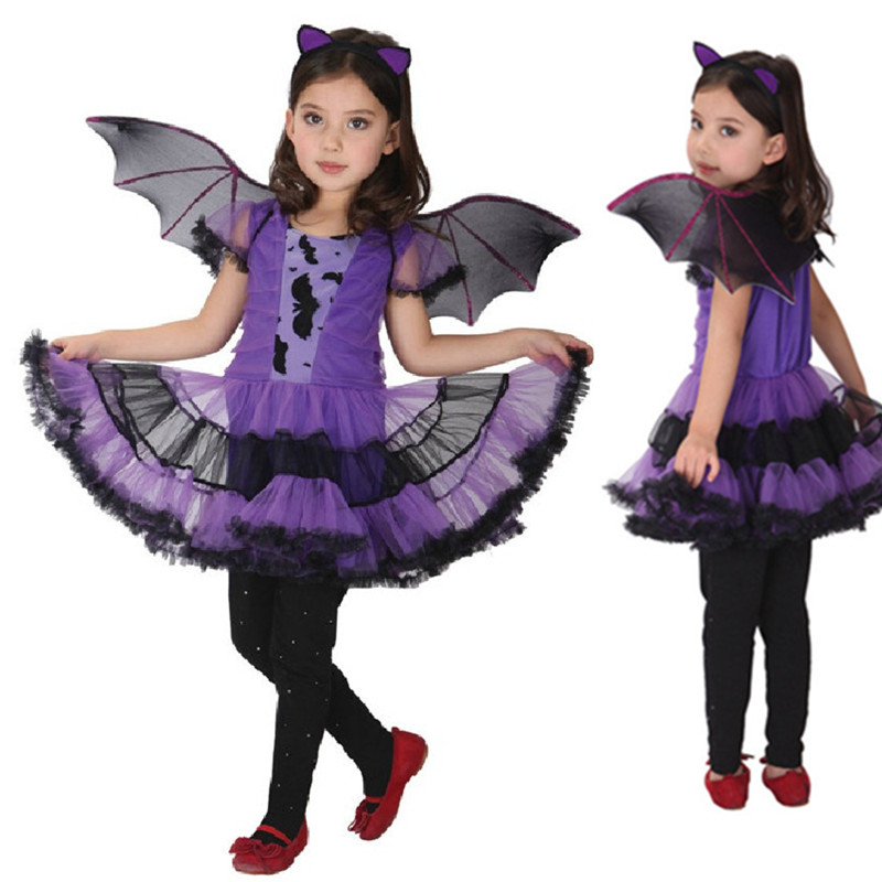 Hot Fancy Masquerade Party Bat Cosplay Dress Witch Clothing Halloween Costume for Kids Girls with Wings Headband Girl Dresses tinker bell fairy kids girl halloween party costume dress wings set 2 8year c247