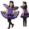 Hot Fantasia Masquerade Party Bat Cosplay Vestido Roupas Bruxa Traje de Halloween para Crianças Meninas com Asas Headband Menina Vestidos