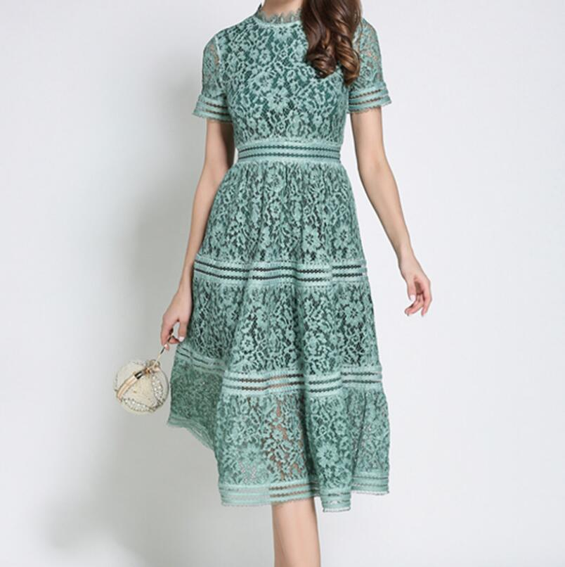 2 Color Summer Fashion Hollow Out Vintage Dress Casual
