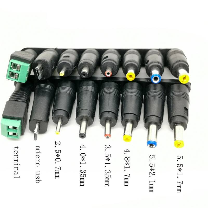 1 lot 8pcs <font><b>DC</b></font> Power Jack 5.5 x 2.1mm Female To 5.5*1.7mm 4.8 2.5 2.1 0.7 <font><b>3.5</b></font> 4.0*<font><b>1.35mm</b></font> micro usb termimal Male <font><b>Plug</b></font> AQJG image