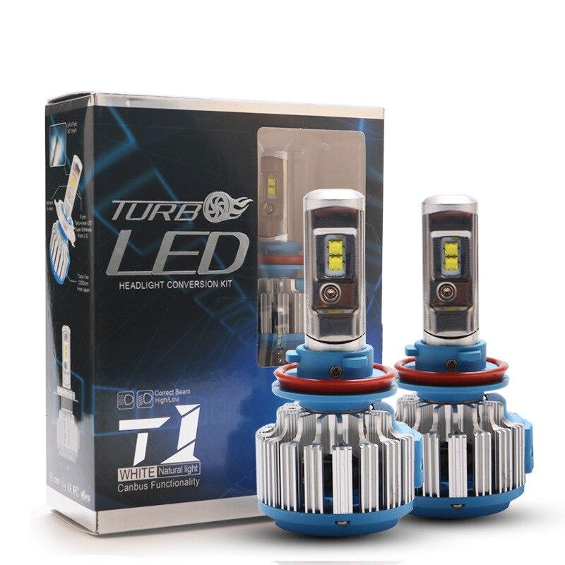 2PC LED Turbo H4 H7 Hi/LO H1 H3 H8 H9 H11 9005/HB3 9006/HB4 feixe 70W 18000LM T1 Nevoeiro Luz Do Farol Do Carro Styling