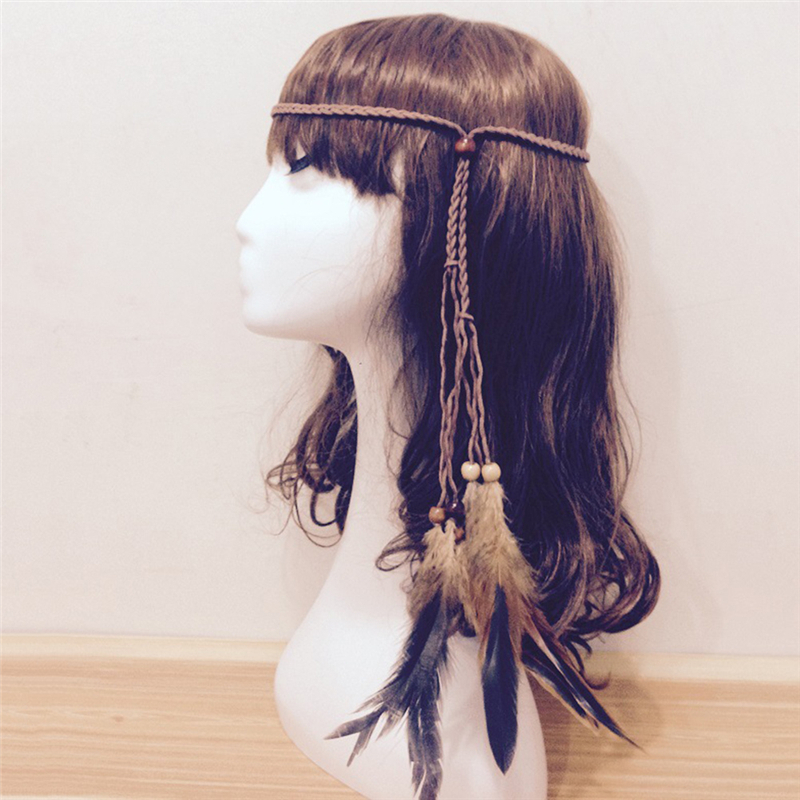 1Pc Feather Headband Women Festival Feather Headband Hippie Headdress Hair Accessories Boho Peacock Feather Headdress