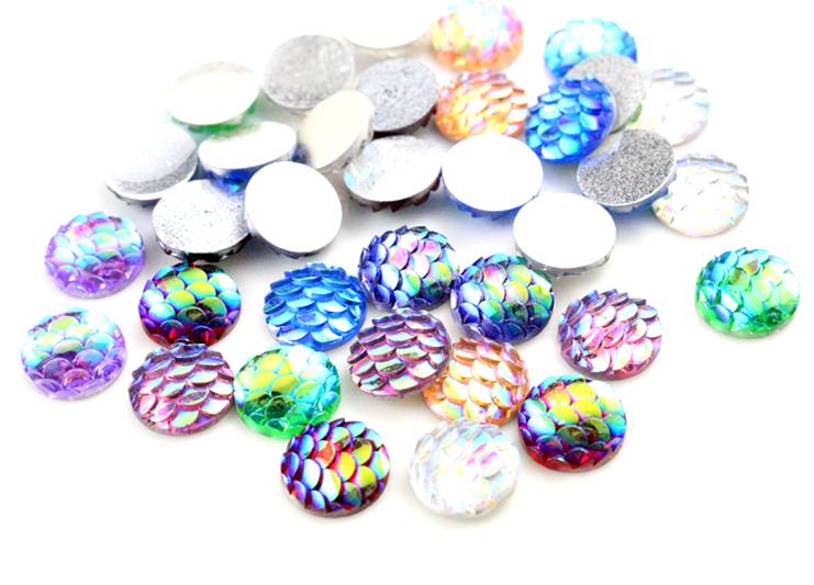 New Fashion 40pcs 10mm Mix Color Fish Scales Style Flat Back Resin Cabochons Cameo