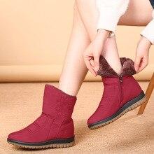 ZZPOHE Women boots winter shoes women plush warm non-slip waterproof snow boots Mother Plus Velvet Cotton Boots Plus size 35-43 цены онлайн