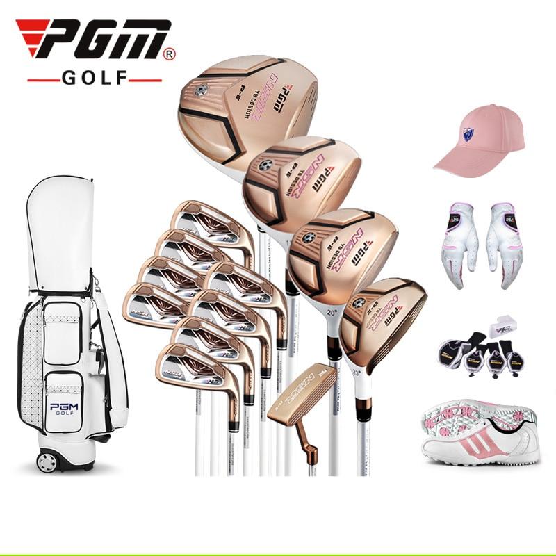 אוספים מותג PGM. 13 התמונות נשים מועדוני גולף טיטניום סגסוגת עבור רוד של הנהג, יוקרה נשים גולף להשלים פיר פחמן מוגדר