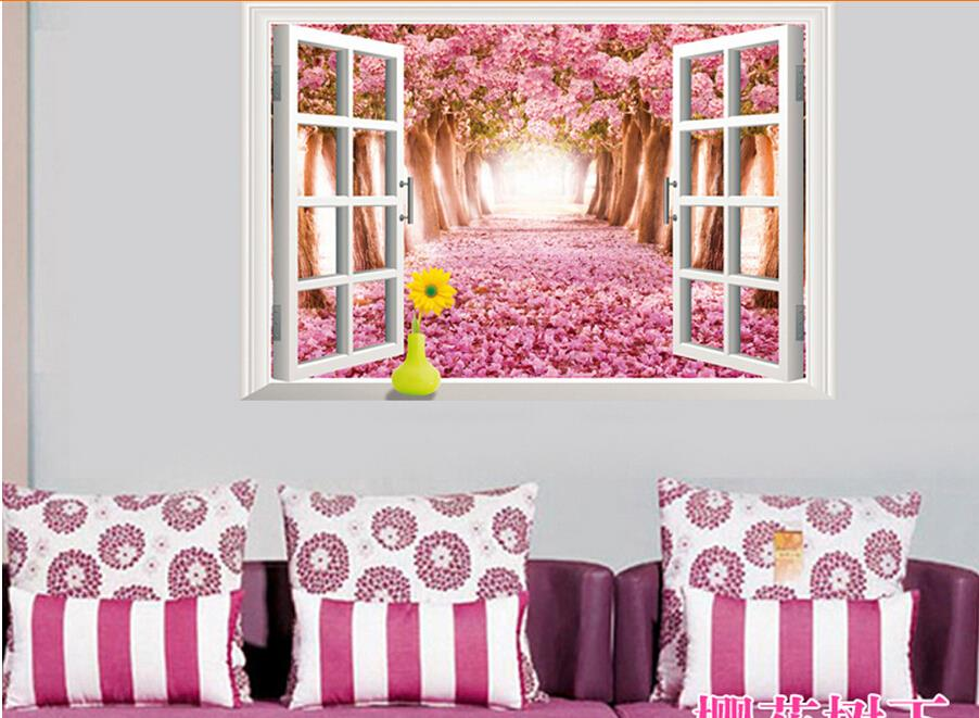 3d Cherry blossoms floral tree scenery window wall stickers living ...