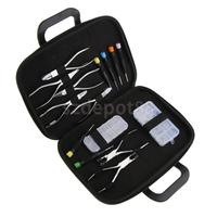15pcs Eyeglass Repair Kit 1 Box Screw Nut + 1 Box Nose Pads + 6pcs Screwdrivers + 7pcs Pliers + 1pcs Storage Holder Bag