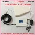 Pantalla LCD W-CDMA 3G GSM Repetidor de Doble Banda 2G 3G UMTS Kits de Teléfono Celular amplificador de Señal Amplificador de Señal de Teléfono Móvil GSM Antena