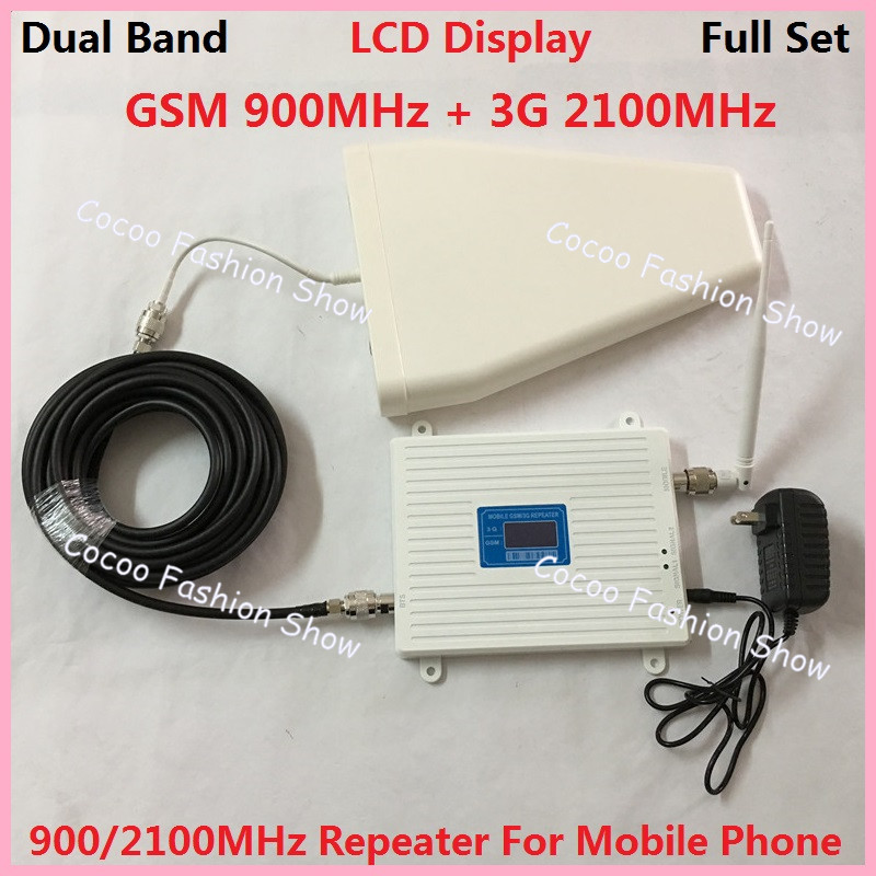 W-CDMA d'affichage à cristaux liquides 3G GSM répéteur double bande 2G 3G UMTS amplificateur de Signal de téléphone portable GSM amplificateur de Signal de téléphone portable Kits antenne