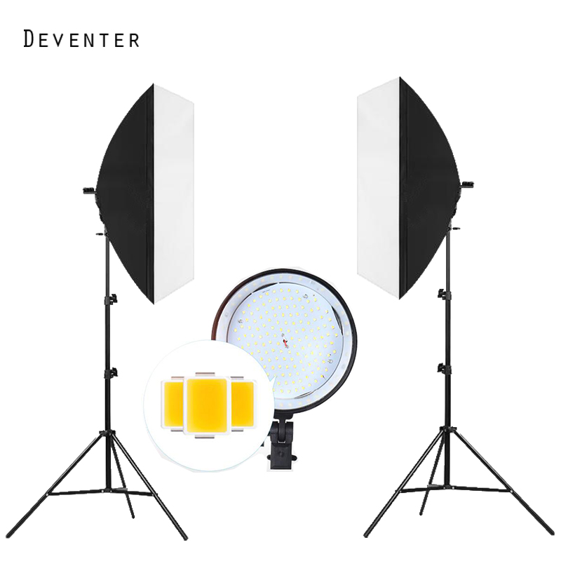 144PCS LED Bulb Photo studio professional Photography lighting kit 5500K 8500Lumen Continuous light Softbox Diffuser and Tripod professional godox ql1000 1000w photo photography studio video continuous light lighting