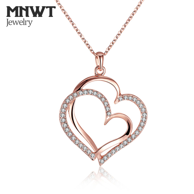 MNWT Rose Gold Color Crystals Heart Pendant Necklace Valentine's Day Gift  Of Women Romantic Heart Style Classic Party Jewelry