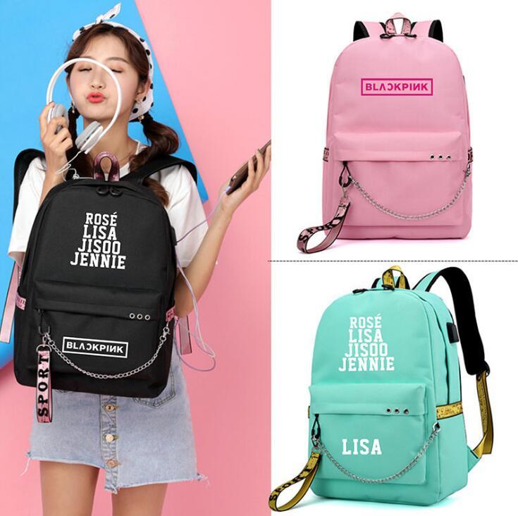 JENNIE BlackPink Subiu Lisa USB Backpack School Bolsas Preto Rosa Mochila Sacos de Viagem Laptop Mochila Cadeia Fone De Ouvido Porta USB
