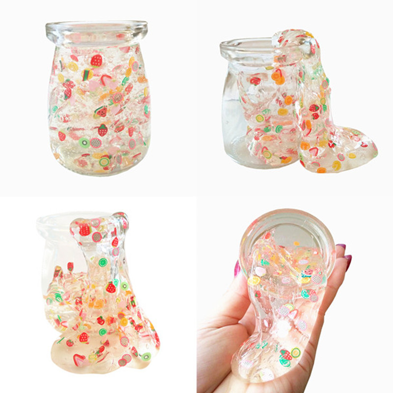 2017 Fruit And Candy Crystal SLIME DIY Transparent Clear Slime Putty Antistress Jelly Mud Non Stick Hand Clay Kids Toys