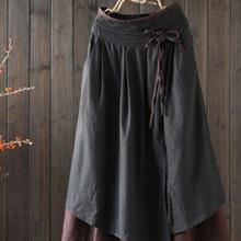 Mori Girl, имитация двух частей, хлопок, лен, юбка, женская, уникальная, высокая талия, шнурок, длинное, макси, для женщин, готический стиль, хиппи, новинка, юбка, Saia