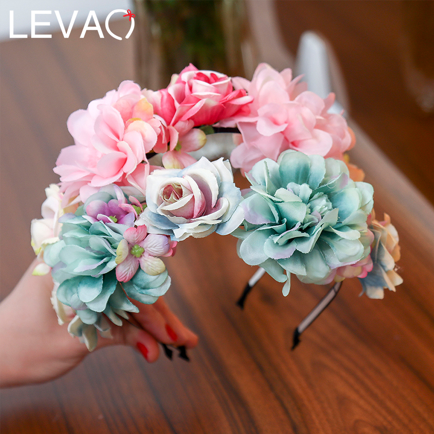 LEVAO Spring Bride Wedding Hairband Flower Crown Headband Hair Accessories Women Sweet Floral Weather Hair Hoop Hairwear