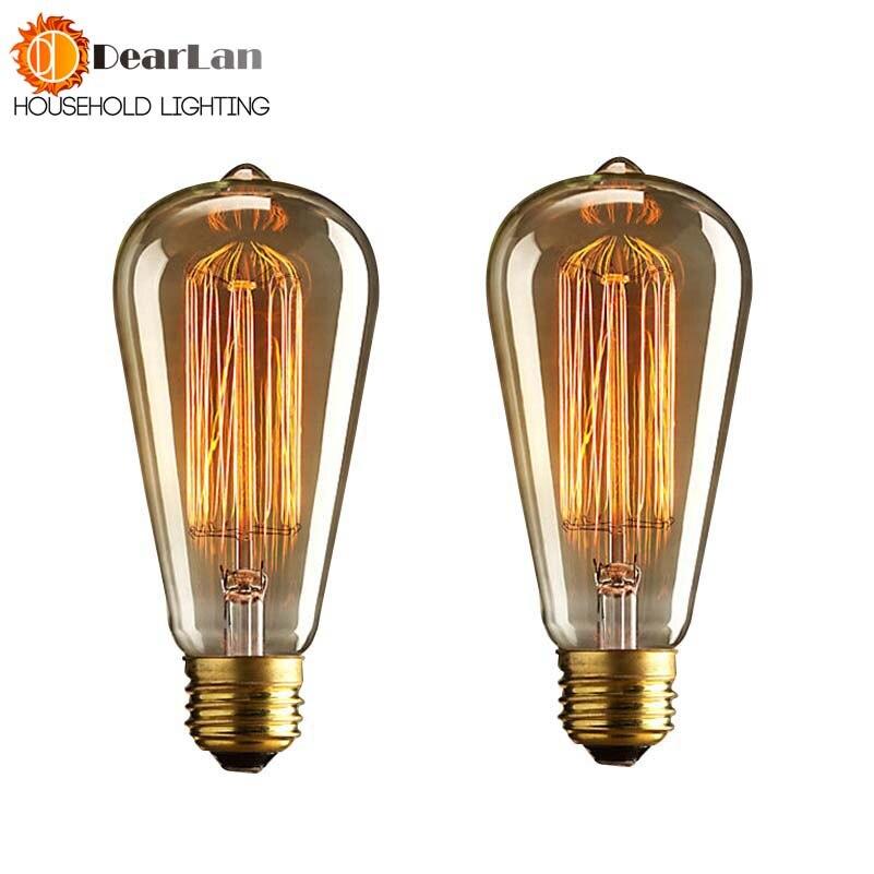 Купить с кэшбэком (ST64) Wholesale Price Fashion Incandescent Vintage Light Bulb,Beautiful Edison Bulb,E27/220V/40W 60*140(mm),Antique Bulb(BD-49)