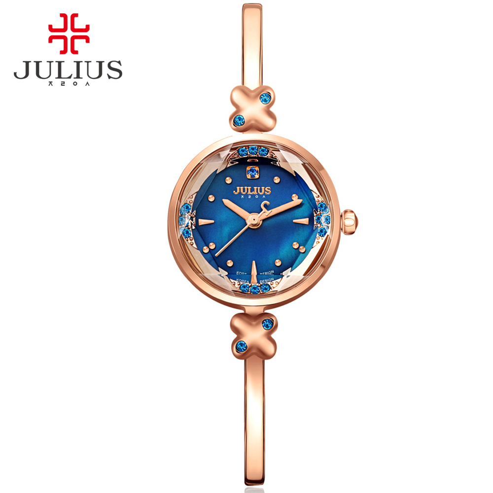 Watch Women Fashion Watches 2016 Casual Dress Bangle Watch Rose Gold Julius Top Brand Rhinestone Relogio Feminino Dourado JA-878