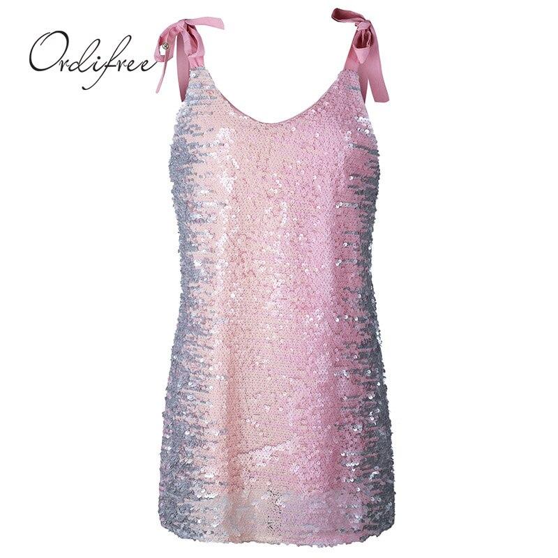 Ordifree 2018 Summer Women Mini Sequin Dress V Neck Bow Cute Pink Spaghetti Strap Short Dress