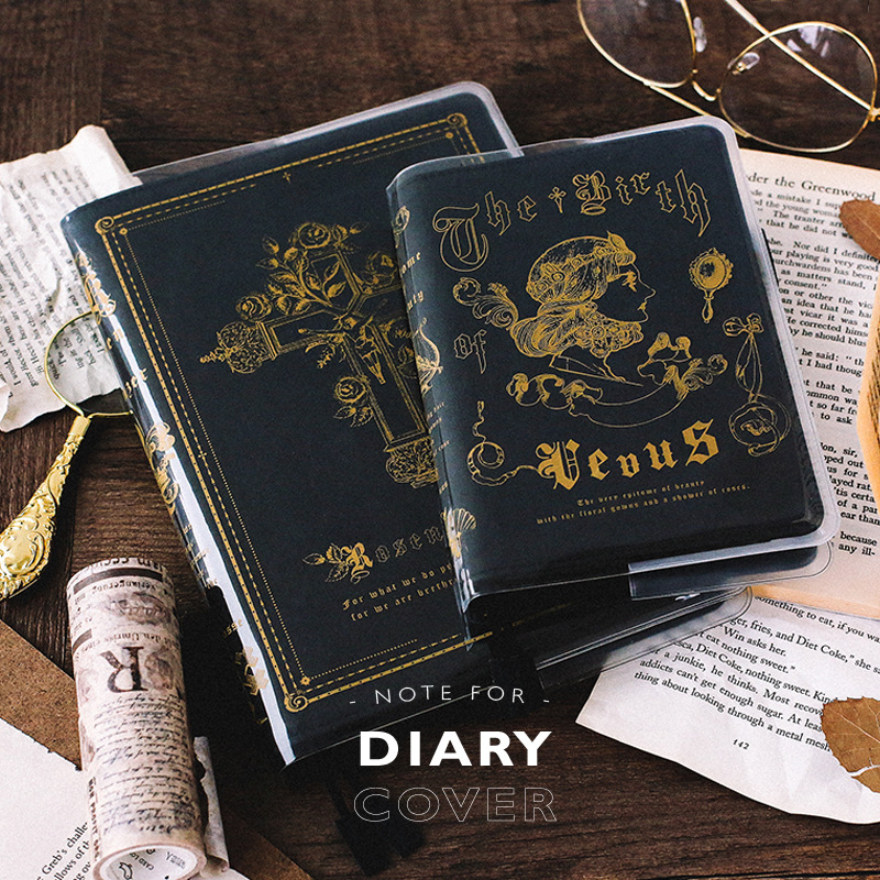 Vintage Golden Printed Fashion God And Planets Theme PVC Cover A5 A6 Suit For Standard Hobonichi Journal Cover multiple colors simulated leather cover a5 a6 suitable for hobonichi and other standard journal sheets