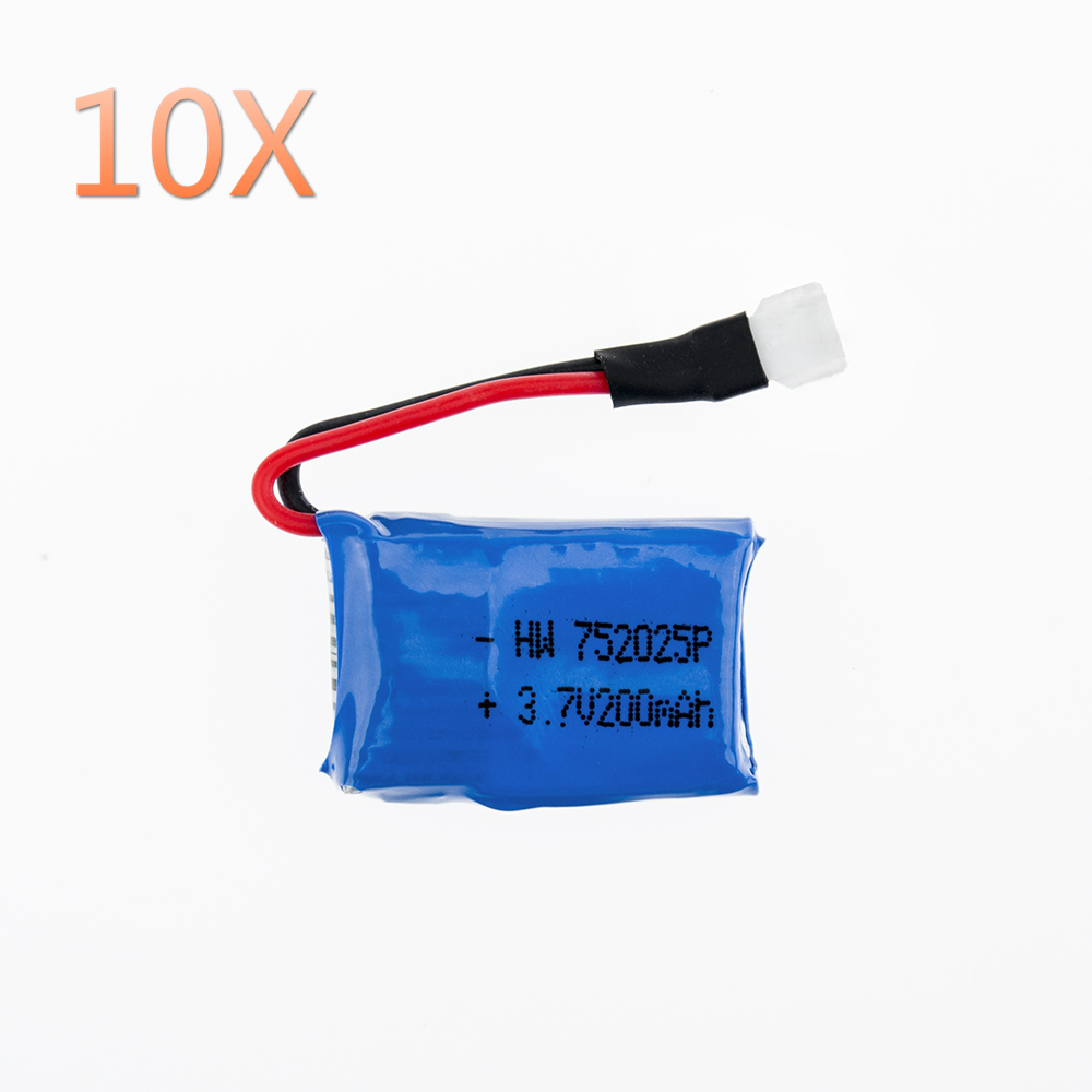 OJAX 10pcs 3.7V 200mAh Drone Rechargeable Lipo Battery 752025P For RC Syma X4 X11 X13 Aircraft