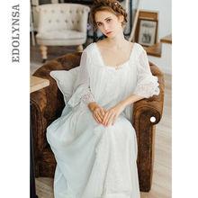فستان المنزل الصحي ثوب النوم النساء حجم كبير طويل القطن الأبيض ملابس خاصة مضيئة كم فستان سهرة غير رسمي قميص النوم سيدة T39