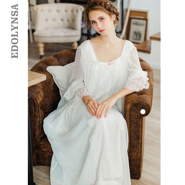 Gezonde Thuis Jurk Nachtjapon Vrouwen Plus Size Lange Witte Katoenen Nachtkleding Flare Mouwen Casual Sleep Shirt Lady T39