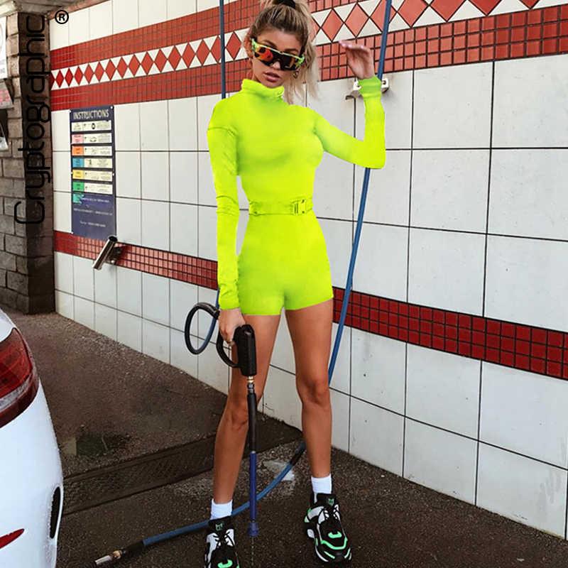 Криптографическая Мода 2019 Горячие неоновые зеленые облегающие повседневные Костюмы пляжного стиля пояса с длинными рукавами на молнии Комбинезоны женские спортивные костюмы