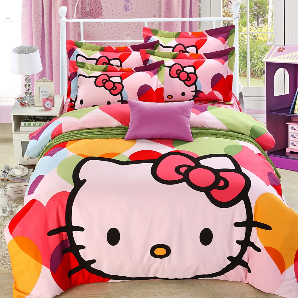 Pink hello kitty bedsheet - Love Heart Duvet Cover Polka Dot Bed Cover Hello Kitty Comforter Sets Cotton Bed Sheets Housse