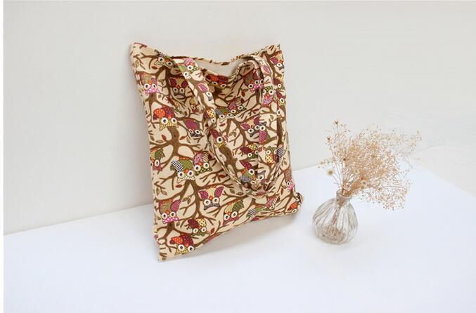 Canvas Bags Hobos Handbag Owl Print Canvas Shoulder Beach Bag Big Messenger Bags