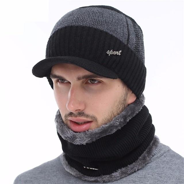 436012bef8cc5 Invierno lana gorros bufanda para las mujeres hombres hip hop gorras  balaclava máscara gorro Bonnet sombrero