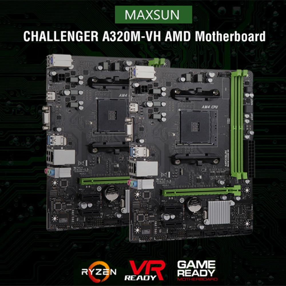 Original MAXSUN A320M-VH AMD Motherboards M-ATX Dual Channel DDR4 SATAIII  USB3 1 Motherboard