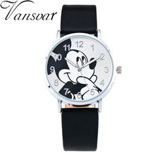 2016 Fashion Watch Mickey Mouse Children Cartoon Watch Leather Wristwatch Casual Kid Boy Quartz Watch Women