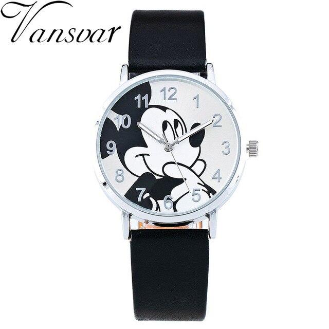 2016 Fashion Watch Mickey Mouse Children Cartoon Watch Leather Wristwatch Casual Kid Boy Quartz Watch Women Girls Relojes 1961