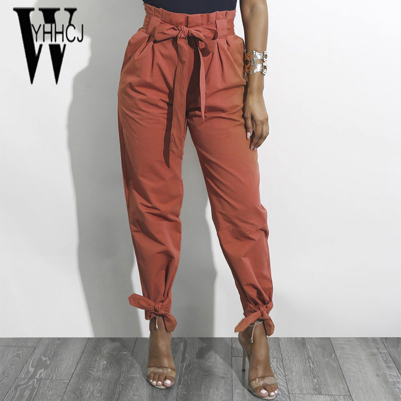 WYHHCJ 2018 new casual high waist women pants solid pencil drawstring pockets harem pants sashes 1