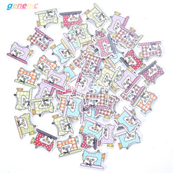 50 Pcs/Lot Conveyance 2 Holes Sewing Machine Pattern Wooden Buttons Mixed Well New image