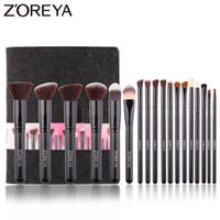 ZOREYA 18pcs High Quality Synthetic Hair Makeup Brushes Sets With Black Wooden Handle Concealer Contour Blending