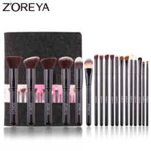 ZOREYA 18pcs High Quality Synthetic Hair Makeup Brushes Sets With Black Wooden Handle Concealer Contour Blending Eye Shadow Tool