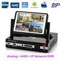 AHD DVR 4Ch 8-канальный ВИДЕОРЕГИСТРАТОР NVR HVR 3in1 с ЖК-монитор 7 дюймов Combo H.264 DVR Цифровой Видеорегистратор для Аналоговых + AHD + Ip-камера