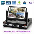AHD DVR 4Ch 8Ch DVR NVR HVR 3in1 with LCD monitor Screen 7 inch Combo H.264 DVR Digital Video Recorder for Analog+AHD +IP Camera