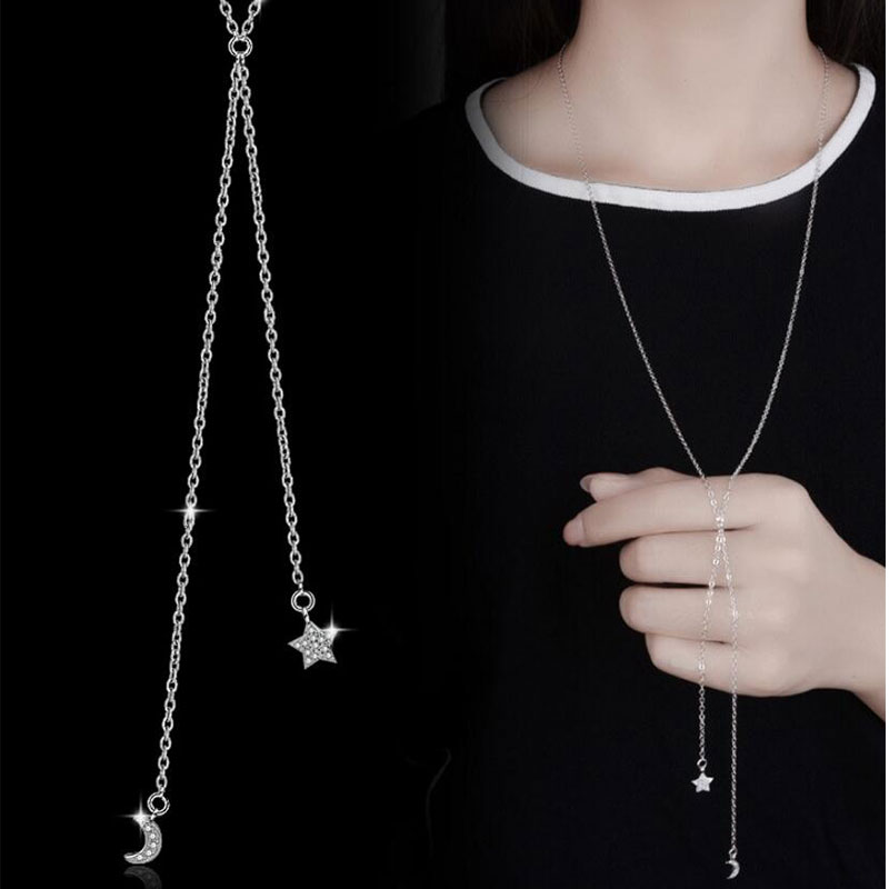 Anenjery 925 Sterling Silver Jewelry Crystal Zircon Stars Moon Long Statement Chain Necklace For Women collares S-N48